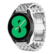 Strap-it® Samsung Galaxy Watch 4 stalen draak bandje (zilver)