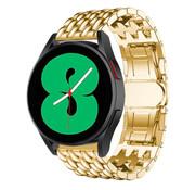 Strap-it® Samsung Galaxy Watch 4 stalen draak bandje (goud)
