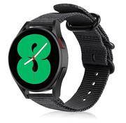 Strap-it® Samsung Galaxy Watch 4 nylon gesp band (zwart)
