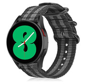 Strap-it® Samsung Galaxy Watch 4 nylon gesp band (zwart/grijs)