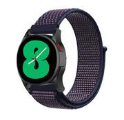 Strap-it® Samsung Galaxy Watch 4 - 44mm nylon band (paars/blauw)