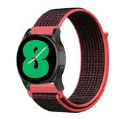 Strap-it® Samsung Galaxy Watch 4 - 44mm nylon band (zwart/rood)