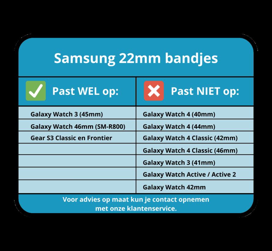 Strap-it® Samsung Galaxy Watch siliconen / leren bandje 45mm / 46mm (zwart/bruin)