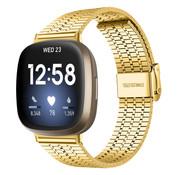 Strap-it® Fitbit Versa 3 roestvrij stalen band (goud)