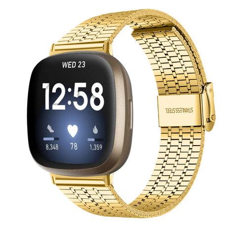 Strap-it® Strap-it® Fitbit Versa 3 roestvrij stalen band (goud)