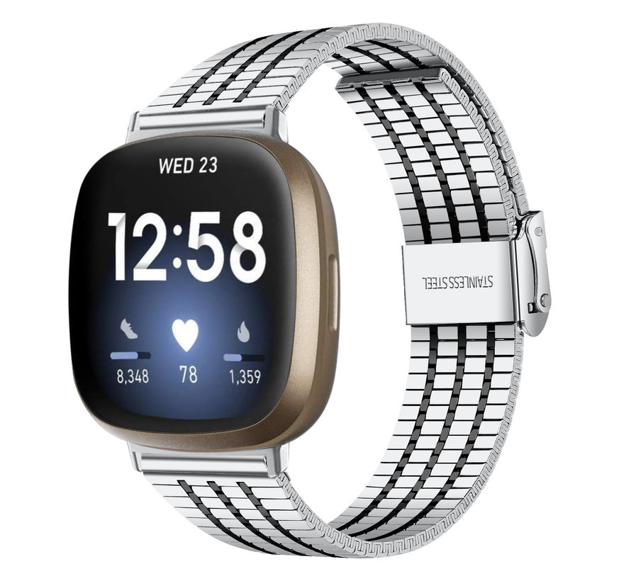 Strap-it® Fitbit Sense roestvrij stalen band (zilver/zwart)