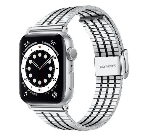 Strap-it® Strap-it® Apple Watch roestvrij stalen band (zilver/zwart)
