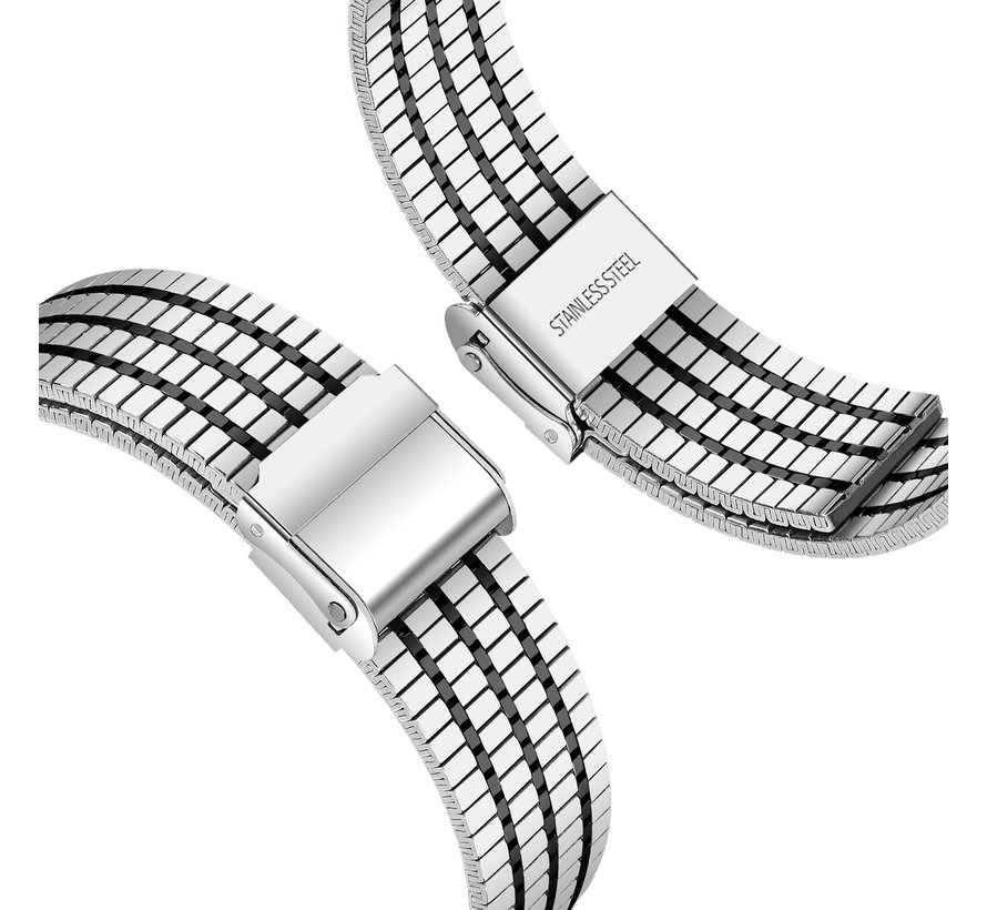 Strap-it® Apple Watch roestvrij stalen band (zilver/zwart)