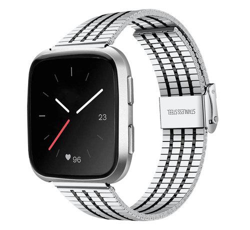 Strap-it® Strap-it® Fitbit Versa roestvrij stalen bandje (zilver/zwart)