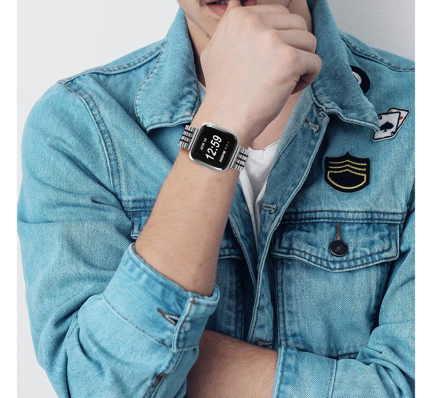 Strap-it® Fitbit Versa roestvrij stalen bandje (zilver/zwart)