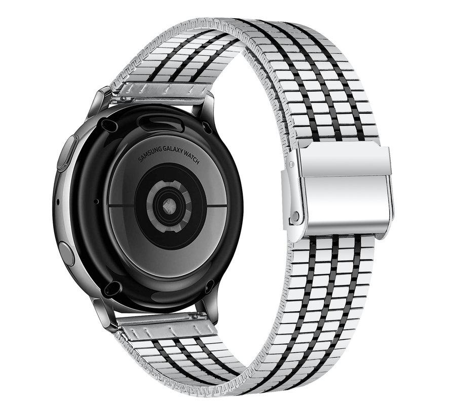 Strap-it® Samsung Galaxy Watch Active roestvrij stalen band (zilver/zwart)