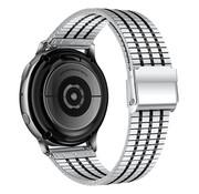 Strap-it® Samsung Galaxy Watch 42mm roestvrij stalen band (zilver/zwart)