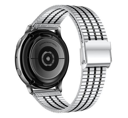 Strap-it® Strap-it® Samsung Galaxy Watch 42mm roestvrij stalen band (zilver/zwart)