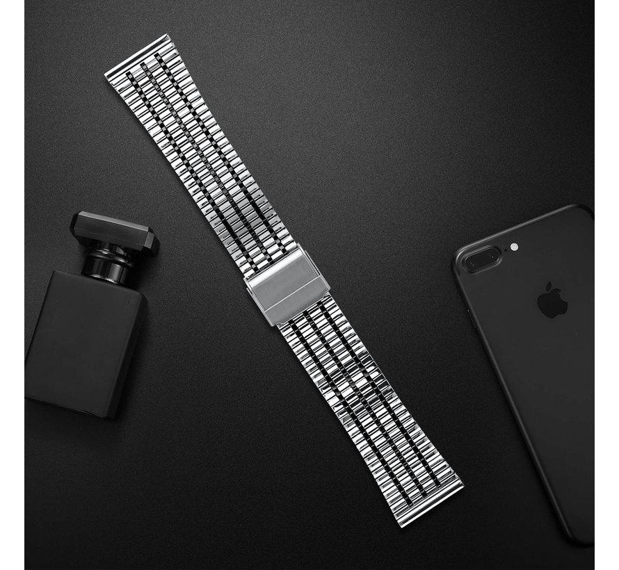 Strap-it® Samsung Galaxy Watch 3 41mm roestvrij stalen band (zilver/zwart)
