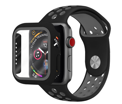 Strap-it® Strap-it® Apple Watch sport band + TPU case (zwart/grijs)