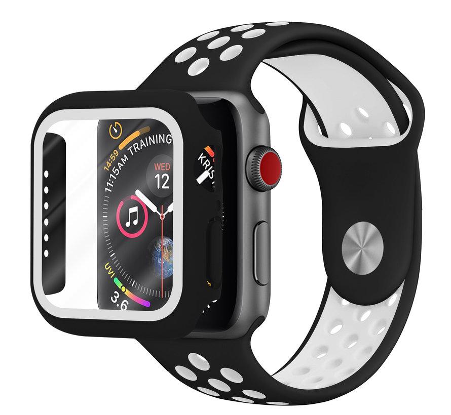 Strap-it® Apple Watch sport band + TPU case (zwart/wit)