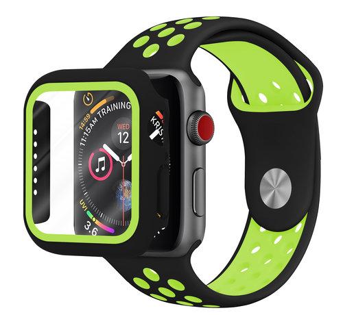 Strap-it® Strap-it® Apple Watch sport band + TPU case (zwart/geel)