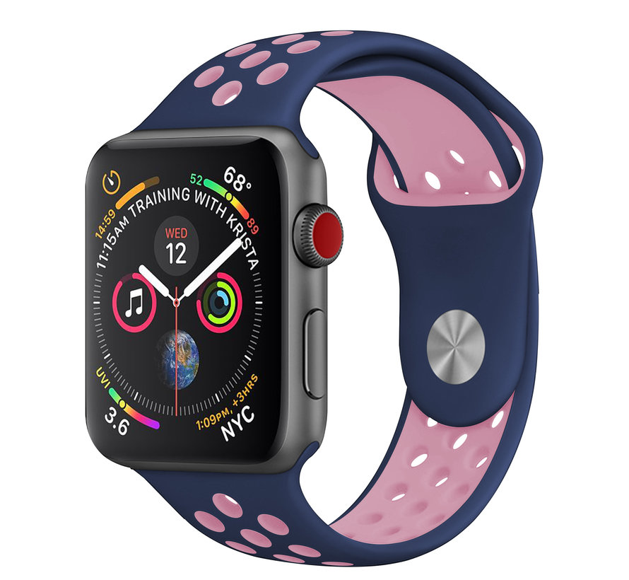 Strap-it® Apple Watch sport band + TPU case (blauw/roze)