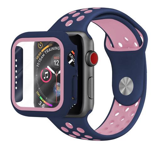 Strap-it® Strap-it® Apple Watch sport band + TPU case (blauw/roze)