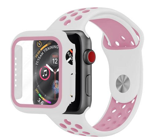 Strap-it® Strap-it® Apple Watch sport band + TPU case (wit/roze)