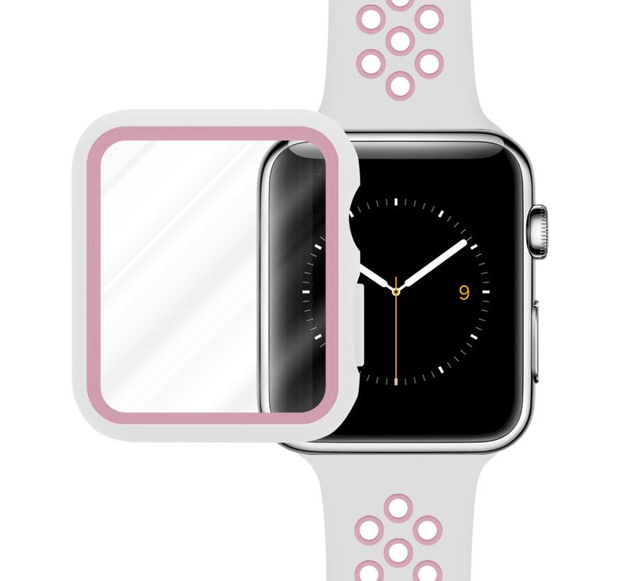 Strap-it® Apple Watch sport band + TPU case (wit/roze)