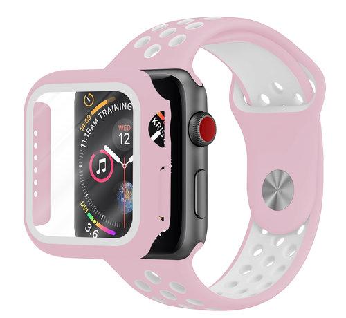 Strap-it® Strap-it® Apple Watch sport band + TPU case (roze/wit)