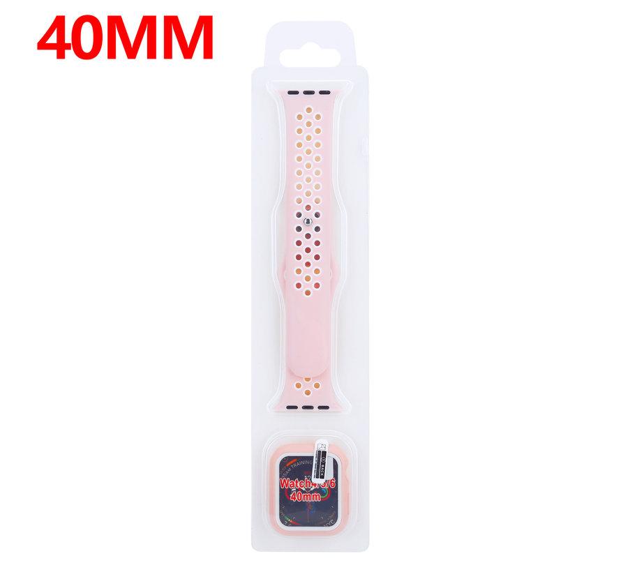 Strap-it® Apple Watch sport band + TPU case (roze/wit)