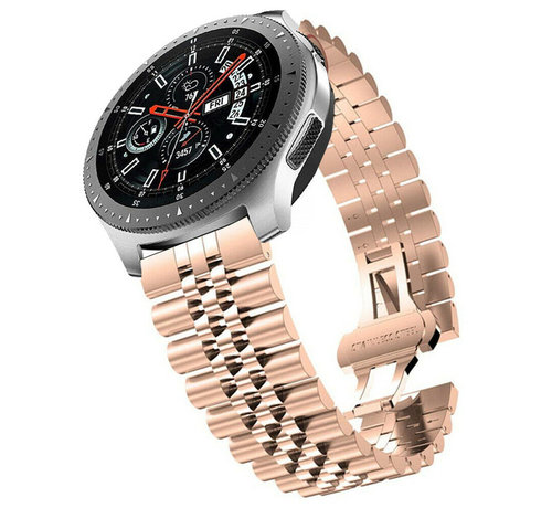 Strap-it® Strap-it® Samsung Galaxy Watch 46mm Jubilee stalen band (rosé goud)