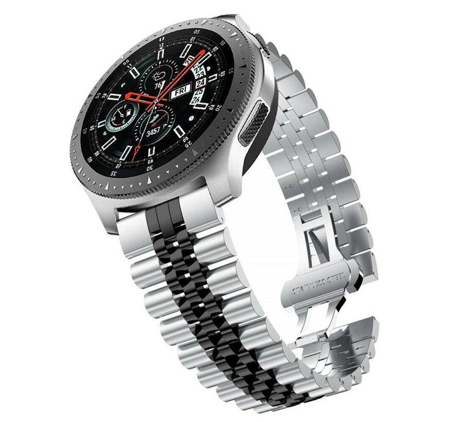 Strap-it® Samsung Galaxy Watch 46mm Jubilee stalen band (zilver/zwart)