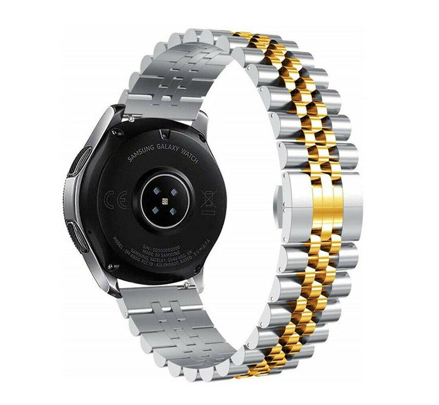 Strap-it® Samsung Galaxy Watch 46mm Jubilee stalen band (zilver/goud)