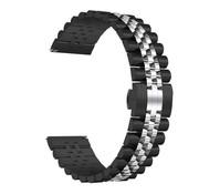 Strap-it® Samsung Galaxy Watch 46mm Jubilee stalen band (zwart/zilver)