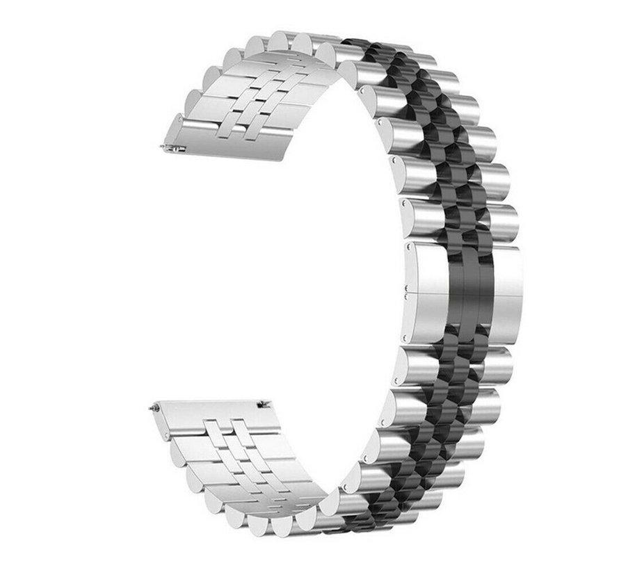 Strap-it® Samsung Galaxy Watch 3 45mm Jubilee stalen band (zilver/zwart)