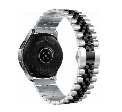 Strap-it® Strap-it® Samsung Galaxy Watch 3 45mm Jubilee stalen band (zilver/zwart)