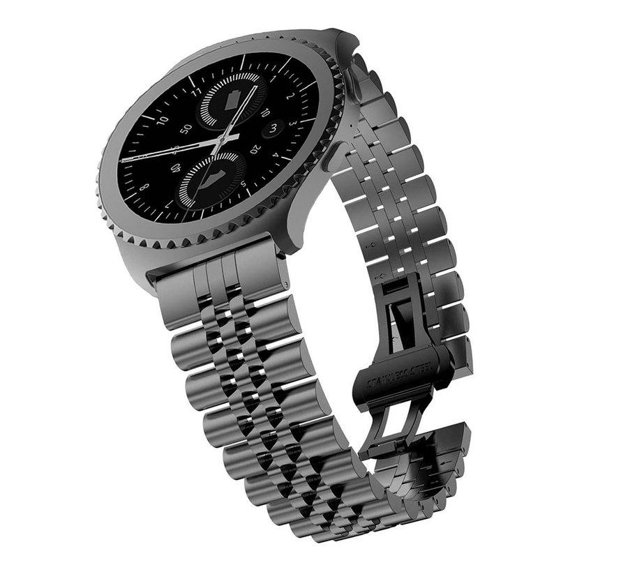 Strap-it® Samsung Galaxy Watch 42mm Jubilee stalen band (zwart)