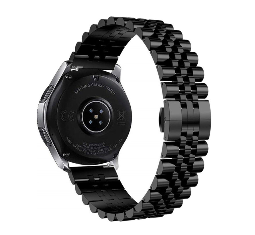 Strap-it® Samsung Galaxy Watch 3 41mm Jubilee stalen band (zwart)