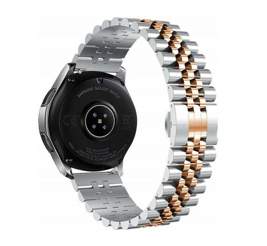 Strap-it® Samsung Galaxy Watch 3 41mm Jubilee stalen band (zilver/rosé goud)