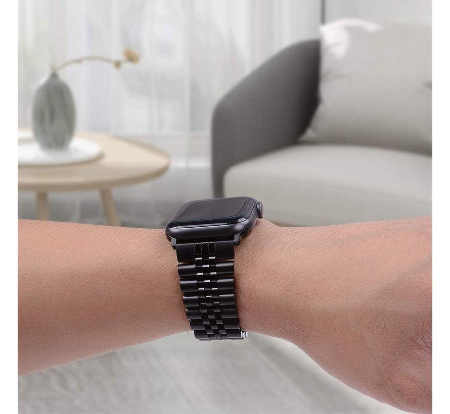 Strap-it® Apple Watch Jubilee stalen band (zwart)