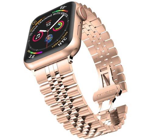 Strap-it® Strap-it® Apple Watch Jubilee stalen band (rosé goud)