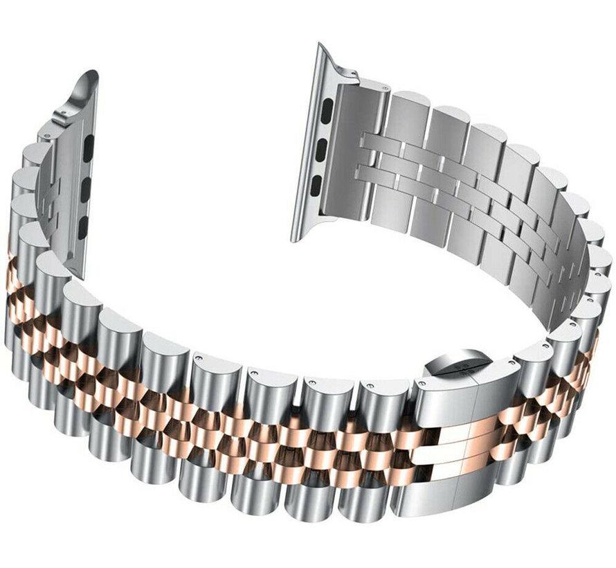 Strap-it® Apple Watch Jubilee stalen band (zilver/rosé goud)