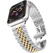 Strap-it® Apple Watch Jubilee stalen band (zilver/goud)