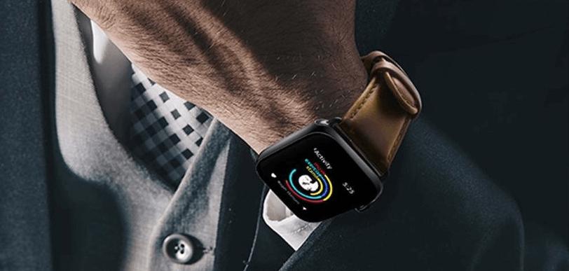Apple watch 7 leren bandje om pols