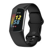 Strap-it® Fitbit Charge 5 siliconen bandje (zwart)