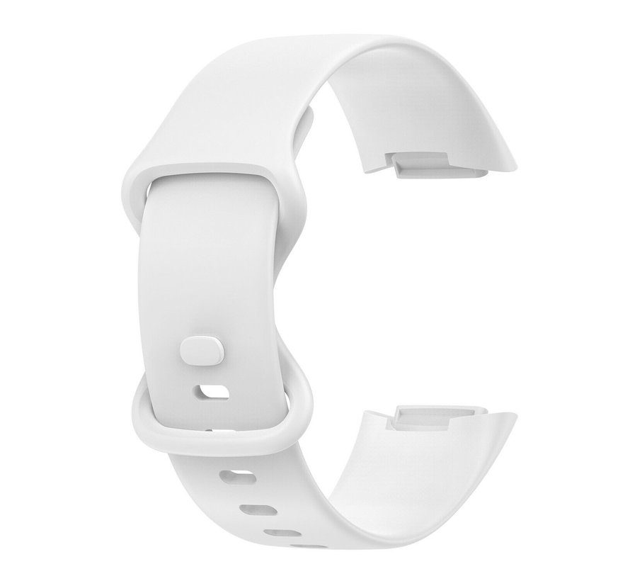 Strap-it® Fitbit Charge 5 siliconen bandje (wit)