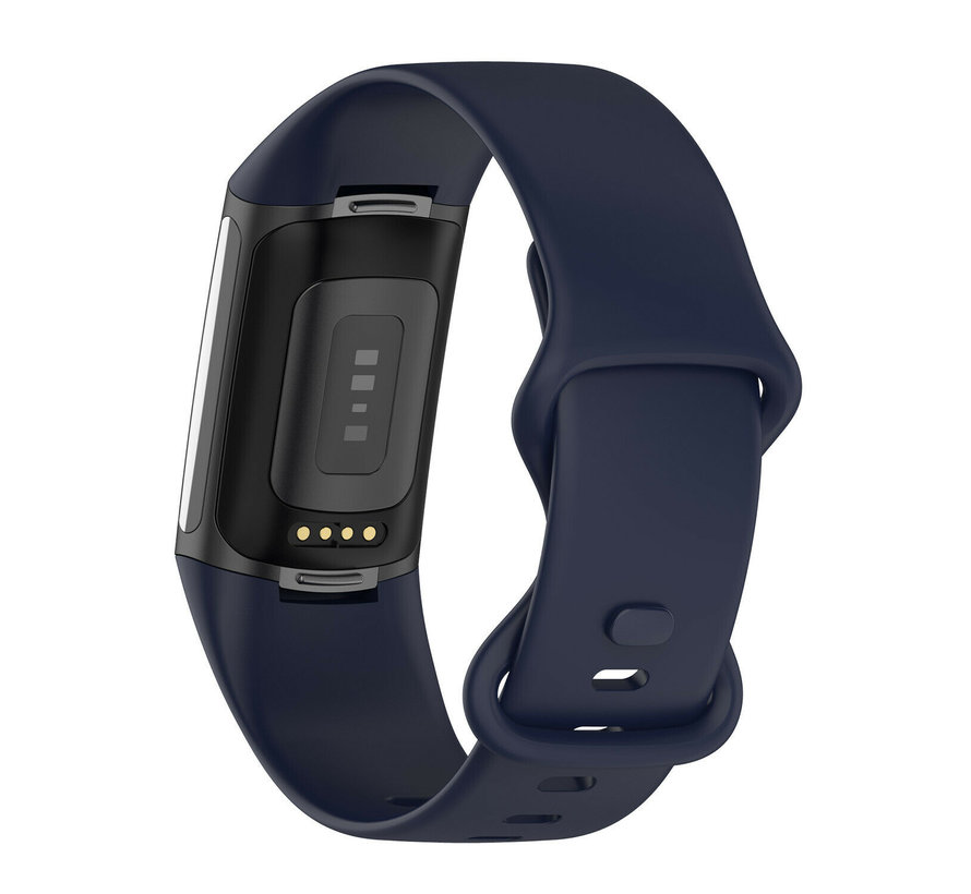 Strap-it® Fitbit Charge 5 siliconen bandje (donkerblauw)
