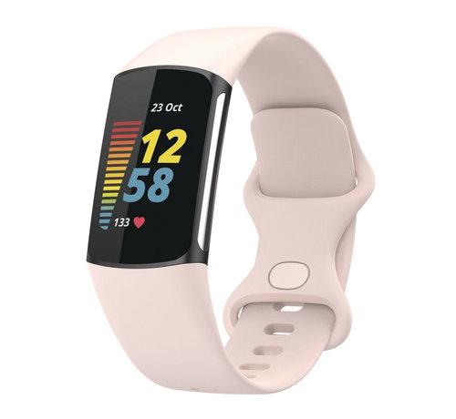 Strap-it® Strap-it® Fitbit Charge 5 siliconen bandje (lichtroze)