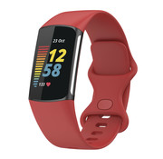 Strap-it® Fitbit Charge 5 siliconen bandje (rood)