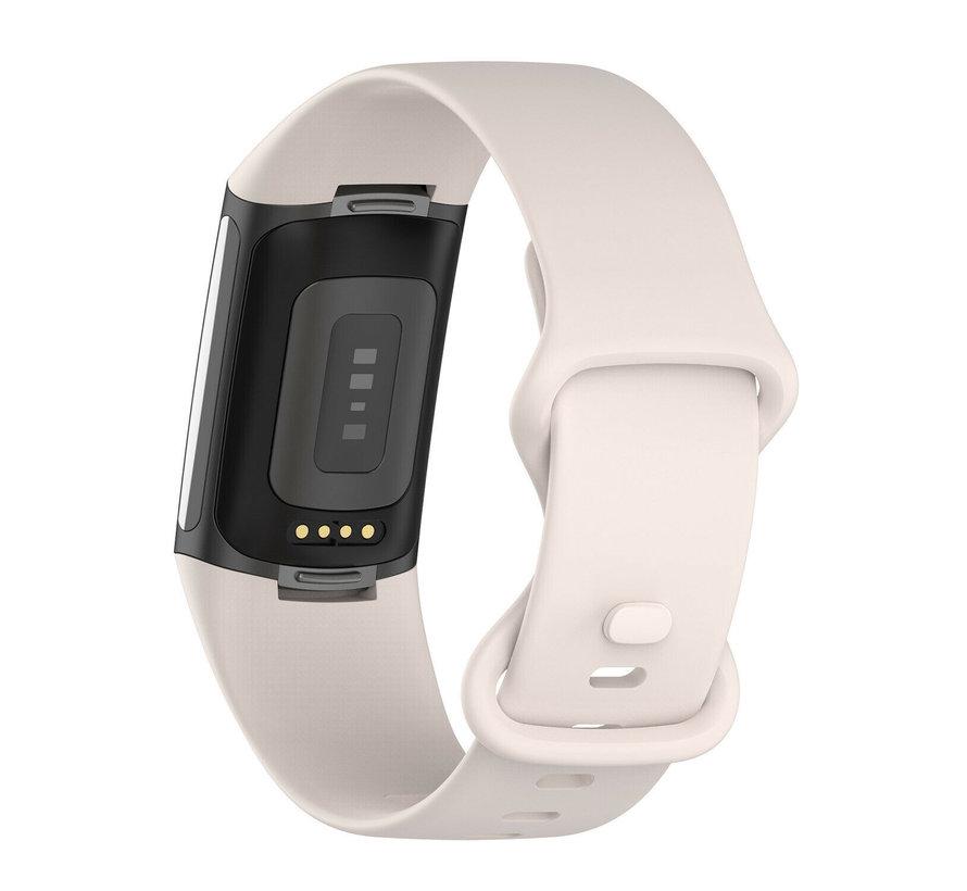 Strap-it® Fitbit Charge 5 siliconen bandje (zand wit)