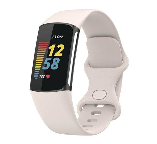 Strap-it® Strap-it® Fitbit Charge 5 siliconen bandje (zand wit)