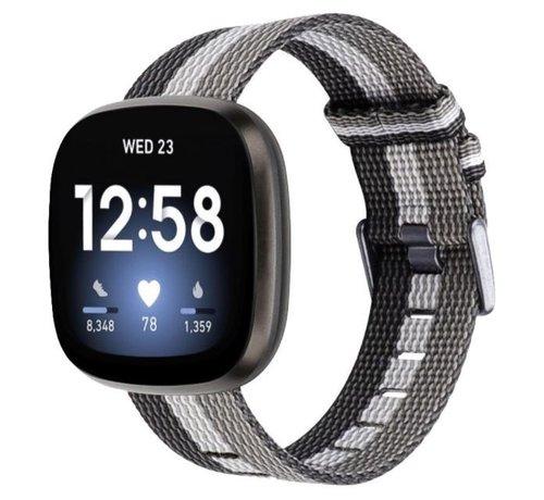 Strap-it® Strap-it® Fitbit Versa 3 geweven nylon gesp band (zwart-wit-grijs)
