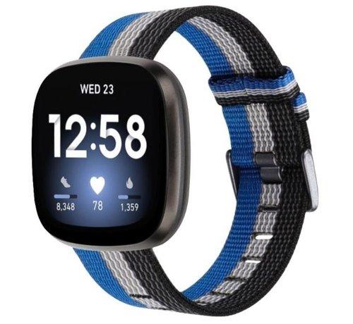 Strap-it® Strap-it® Fitbit Versa 3 geweven nylon gesp band (zwart-wit-blauw)